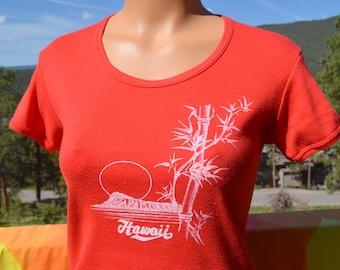 vintage 70s tee HAWAII maui scoop neck babydoll t-shirt women's Small 80s bamboo