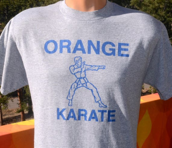 vintage 80s t-shirt orange KARATE martial arts soft thin tee Medium athletic heathered gray 90s