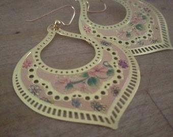 Balinese Bouquet Lightweight Drop Gold Plated Handmade Enamel Earrings FREE SHIPPING