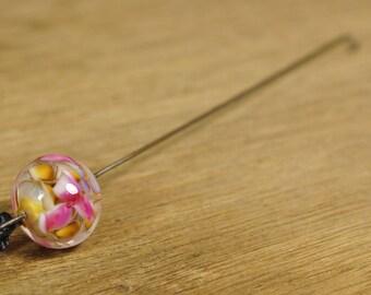 Spinner's Fetch Hook (Orifice hook), Lampwork Glass: Watercolour Flowers