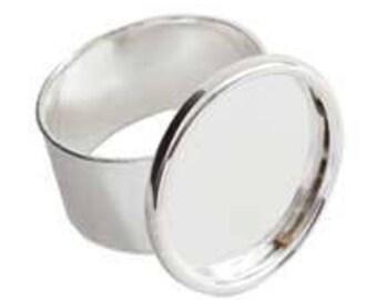 Set of 5 Ring Adjustable Large Circle Sterling Silver Plate DIY Ring Blank Sterling Silver Ring Blank