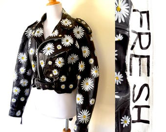 Vintage 80s 90s Petal to the Metal Cropped Black Leather Motorcycle with Hand Painted Daisies (size small, medium)