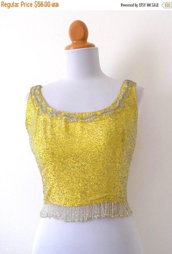 SUMMER SALE/ 30% off Vintage 60s Canary Yellow Beaded Scoop Neck Crop Top (size xs, small)