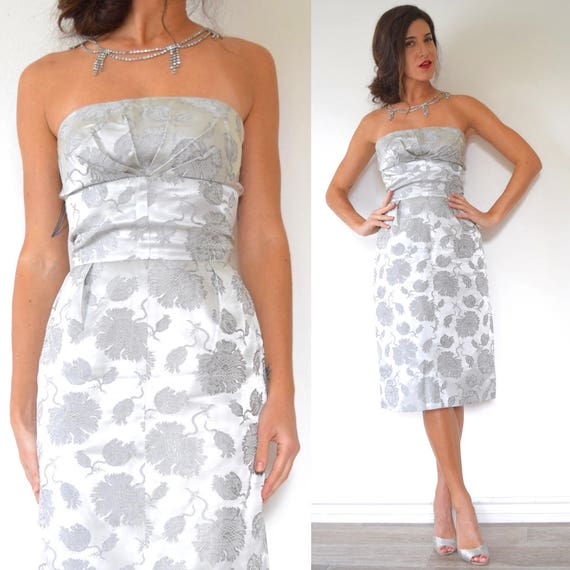 Vintage 50s 60s Silver Floral Brocade Strapless Cocktail Dress with Sunburst Pleated Bust (size small, medium)
