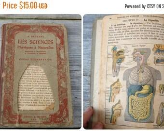 ON SALE Vintage Antique French 1930 Sciences natural/zoology/botanic book/ timeworn