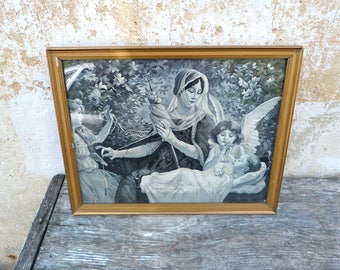 Vintage Antique French XIXeme century Neyret freres silk image picture tapestry La Fileuse