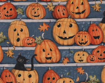 Pumpkin Stares, Halloween Fabric, Springs Creative, Festive, Holiday, Pumkin Patch, Blue Orange, Fall Leaves - FAT QUARTER