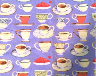 """REMNANT - Purple, Coffee Tea Cups, Tea Party, Quilting 100% Cotton - 20"""" x 43"""""""
