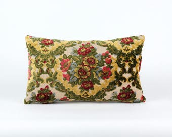 Floral Velvet Lumbar Pillow Cover - vintage upholstery fabric, cushion cover, designer pillow, mid century home decor,  handmade by EllaOsix