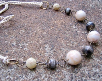Eco-Friendly Statement Necklace - No Stone Left Unturned - Vintage Cream Colored Silk Cord and Faux Stone Beads in Brown, Tan and Off-White