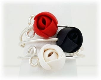Single or Stackable Flower Rings - Sterling Silver, More Colors