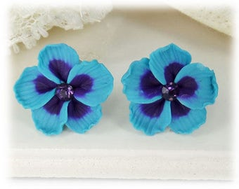 Blue Hibiscus Earrings Stud or Clip On - Hibiscus Jewelry