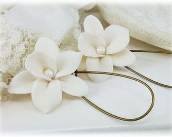 White Orchid Earrings - White Orchid Drop or Dangle Earrings, Whie Orchid Jewelry, White Orchid Wedding