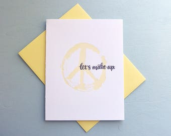 Letterpress Apology Card - Hand Lettering - Let's Make Up - APO-638