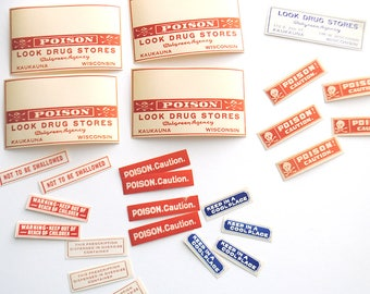 Halloween Poison Labels Vintage Pharmacy Includes Free US Shipping