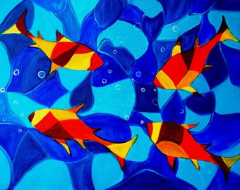 Joy Fish colorful Abstract painting on canvas modern art on sale