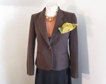 Classic Cropped Jacket 70s Vintage Brown wool blazer Fitted jacket Evan Picone suit jacket M