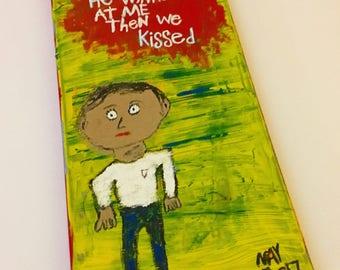 Wink And a Kiss - Folk Art Word Painting NayArts