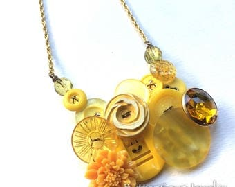 Statement Button Necklace Golden Yellow Chunky Jewelry