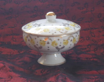 Vintage Candy Dish and Lid  Floral Candy Dish  by Lipper and Mann creations