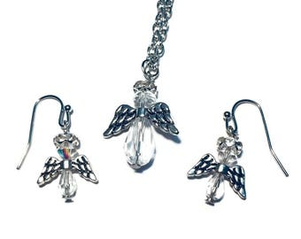 Christmas Angel with Wings Necklace & Matching Earrings