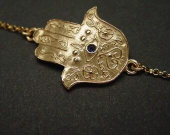 Hamsa bracelet with amethyst - Symbol of protection