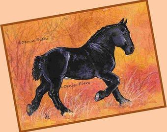 Black Percheron Draft Horse in Autumn Percheron Lover Percheron Gift Draft Horse Lover Draft Horse Gift Horse ACEO Horse Art Print