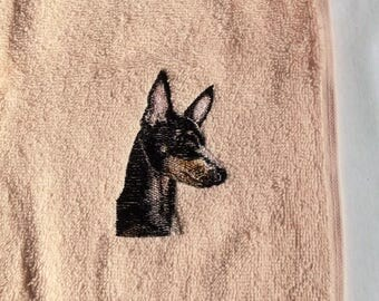 Manchester terrier Dog Face Cloth, Embroidered Towel, Dog Gift,