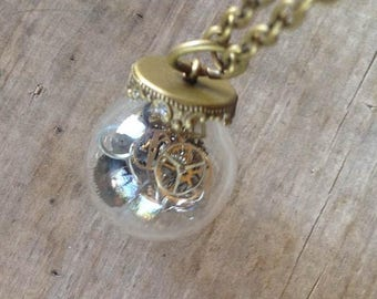 SALE Watch Parts Necklace Globe Steampunk Vintage Retro Recycled Jewelry