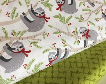 Christmas fabric, Sloth fabric, Sloth Decor, novelty fabric, Fabric Bundle of 2, Choose The Cuts