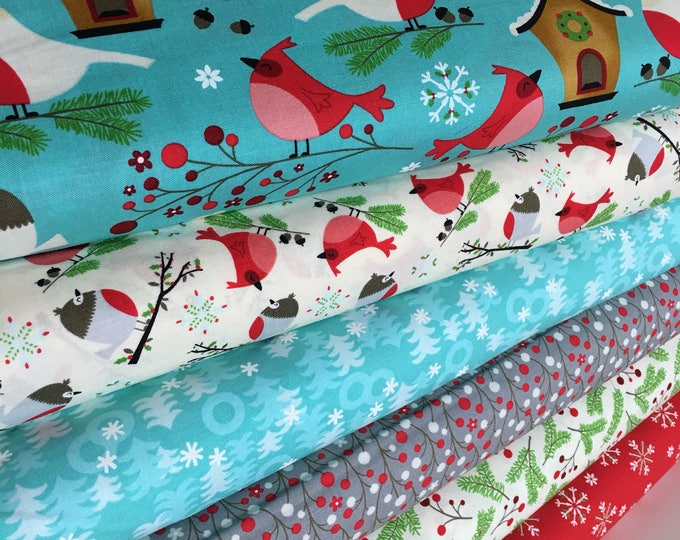 Christmas fabric, Christmas Quilting fabric, Moda fabric, Jingle Birds, Bundle of 6- You Choose the Cut