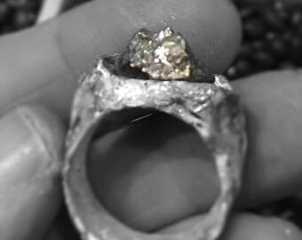 Pretty Pyrite hand sculpted fairy wood silver ring size  7 1/2