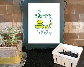 lemon print, lemon art, kitchen art print