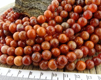 Crab Fire Agate Beads, Red Fire Agate, 8mm Fire Agate Beads, Cracked Agate, Orange Beads, Dramatic Beads, 8mm Red Beads, Gemstones