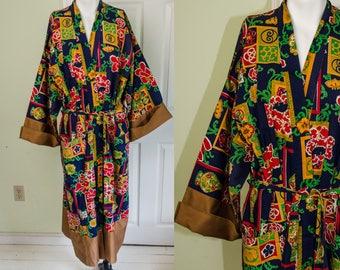 Vintage 1960's Men's Asian Art Deco Print Robe
