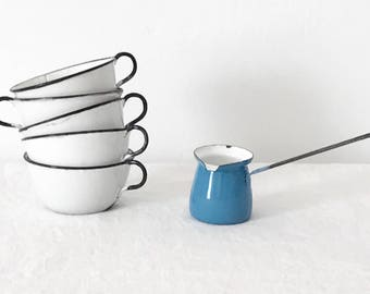 Small Vintage Light Blue and White Enamelware Turkish Coffee Pot / Milk Warmer / Butter Melter / Kitchen/ Cooking