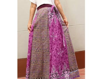 Handmade 8 Pieces Purple floral Thai batik Sarong patchwork long comfortable  wear wrap skirt fit all size (BT 14)