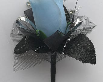 Light Blue Silk Rose Boutonnière