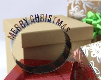 Merry Christmas - Film Reel Gift Packaging Bow - Pop Up Letters Word Loop - Repurposed from Movie Film Strips - Holiday Gift Topper