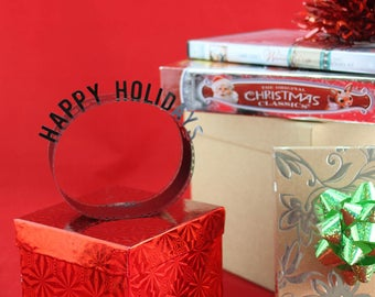 Happy Holidays - Film Reel Gift Packaging Bow - Pop Up Letters Word Loop - Repurposed Movie Film Strips - Gift Topper Christmas Present Bow