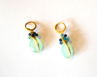 Gold Light Green Color Earrings / Chalcedony Gold Earrings / Gold Wire Wrap Earrings and Sea Foam Green with Blue Chalcedony Gemstones