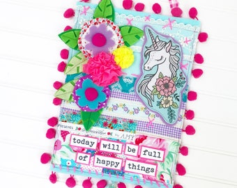 Today Will be Full of Happy Things Collection, Print #5 -- Mixed Media Wall Art
