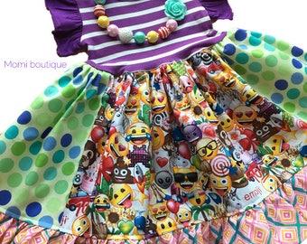 Emoji dress, Emoji movie dress, Emoji Birthday party, Momi boutique custom dress
