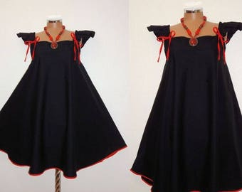 Cute Black and Red Summer Harajuku Style Retro Babydoll A-Line Dress Plus Size 14 16 18 1x Gothic Vampire