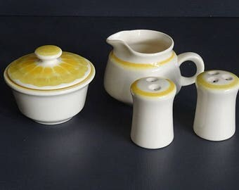 Franciscan Sundance Sugar Creamer Salt Pepper Set 5 Pieces Yellow/Orange Spiral Sun Design