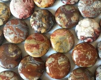 20mm Birdseye Rhyolite Flat Puff Round Coin Beads