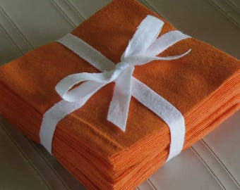 Solid VIBRANT ORANGE, FLANNEL Fabric Squares,  Rag Quilt, Traditional Quilting, pick size & quantity, We Cut You Sew