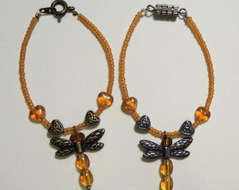 BJD Choice of Metal Beaded Dragonfly Pendant Necklace Doll Jewelry