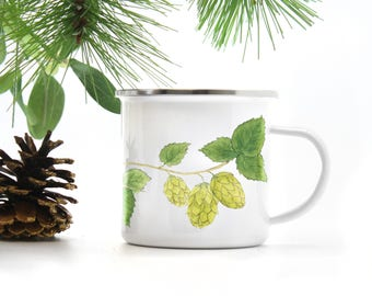 Hops Camp Mug / Camp Mug / Beer Mug / Craft Beer Mug / Pacific Northwest Mug / Camping Mug / Oregon Gifts / Hops / Cast Iron Mug / Beer Gift