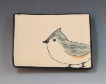 Handbuilt Ceramic Soap Dish with Bird - Titmouse